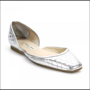Jimmy Choo silver flats quilted 37.5